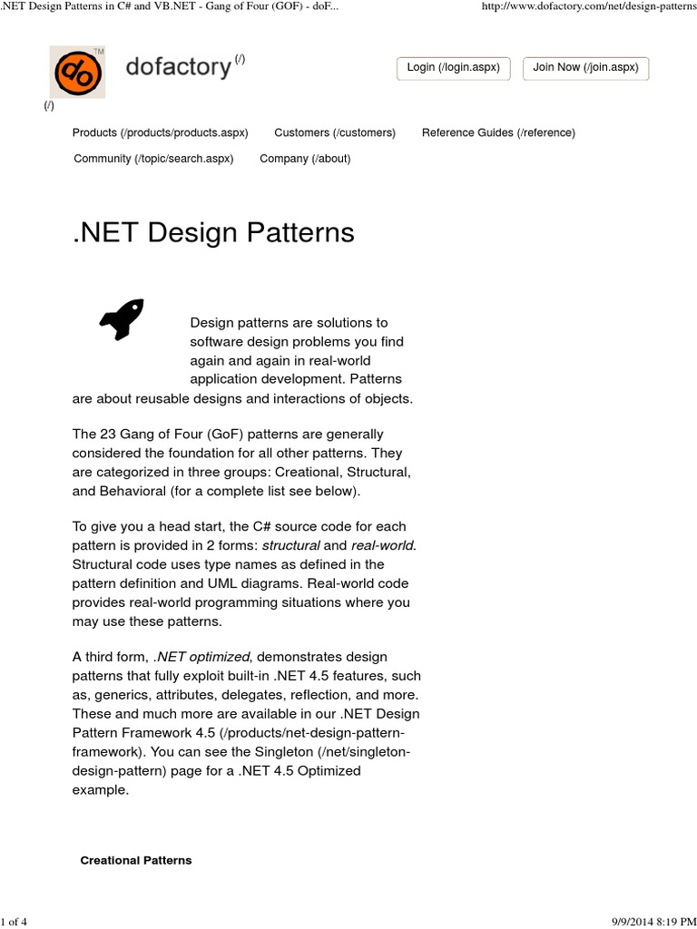 Net design patterns in c and vb gang of four gof design patterns in c and vb gang of four gof dofactory software design pattern object oriented programming baditri Image collections