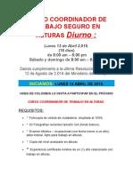 Proximo Curso Diurno Coordinador de Trabajo Seguro en Alturas - Lunes 13 Abril 2.015