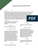 Spacecraft Dynamics Final Report