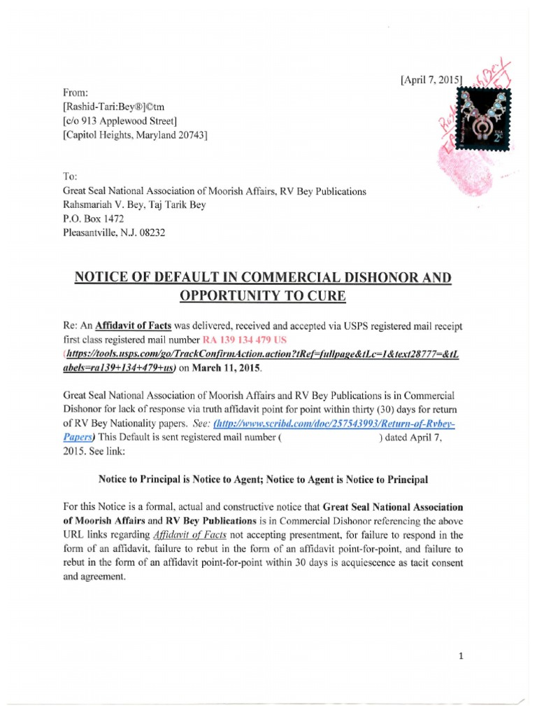 rv bey Notice of Default Against RV Bey Publications