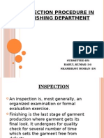 Inspection Procedure in Finishing Department