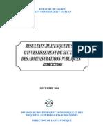 Résultats de l'Enquête Sur l'Investissement Du Secteur Des Administrations Publiques. Exercice 2001