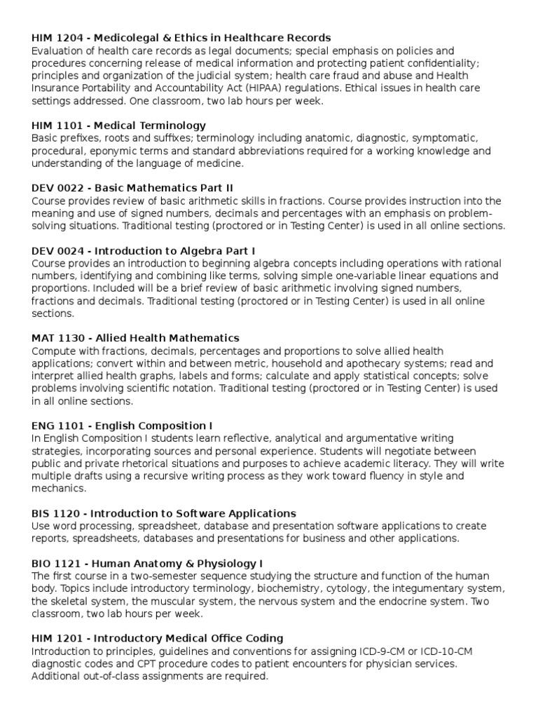 him course classes description | Health Informatics | Public Health