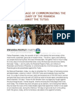 The Rpp Message of Commemorating the 21st Anniversary of the Rwanda Genocide Against the Tutsis