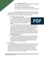 Ringkasan Materi Kuliah Chapter 7 Data Colletion Methods