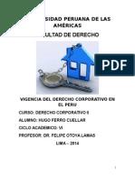 Vigencia Del Derecho Corporativo en El Peru