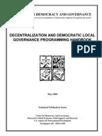 Decentralization and Democratic Local Governance Programming Handbook 2000