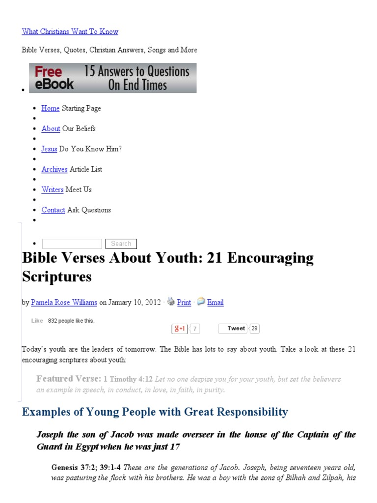 good bible verses for youth