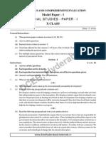 Social Studies - Paper - I (Set - 1) EM Telangan State