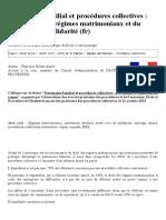 Patrimoine Familial Et Procédures Collectives _ l'Incidence Des Régimes Matrimoniaux Et Du Pacte Civil de Solidarité (Fr) - La GBD