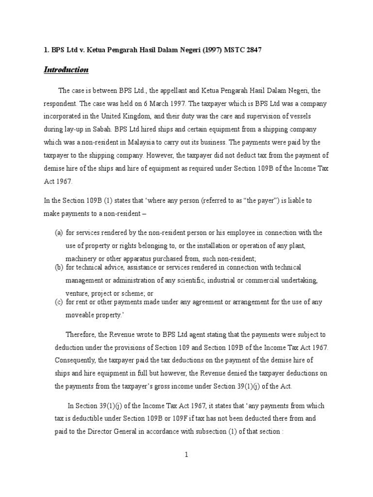 Bps Ltd V Ketua Pengarah Hasil Dalam Negeri 1997 Mstc 2847 Tax Deduction Income Tax In The United States