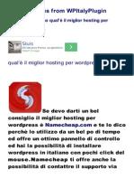 Wordpress Italiano Miglior Hosting wordpress