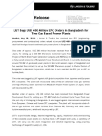 Press Rel Lt Bags Usd 480 Million Epc Orders in Bangladesh for Two Gas Based Power Plants