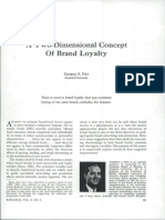 A Two Dimensional Concept of Brand Loyalty(1)