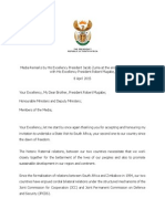 Media Remarks by His Excellency President Jacob Zuma at the End of the Official Talks With His Excellency President Robert Mugabe