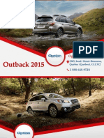 Subaru Outback 2015 - Caractéristiques, prix, garantie