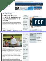 8-05-2015 Candidato del PRI a alcaldía de Mérida ofrece conservar 'esencia' de la ciudad.
