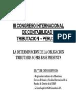 Determinación de La Obligación Tributaria Sobre Base Presunta - Yube Ostos