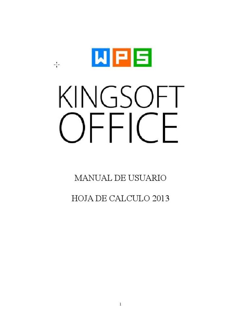 Manual de Usuario Kingsoft Hoja de Calculo 2013