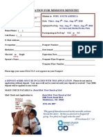 Application for Missions Ministry