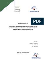 Informe de Pasantias mantenimienro preventivo y correctivo de maquinas lincoln sae 400
