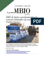 04-04-2015 Diario Matutino Cambio - RMV Da Inicio a Pavimentación de Concreto Hidráulico de Carretera Puebla-Amozoc
