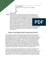 Proactive Behavior in Organizations