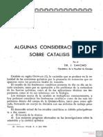 Algunas Consideraciones sobre Catalisis