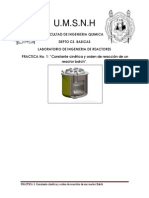 Constante cinética y orden de reacción de un reactor Batch