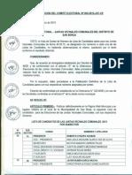 Lista de candidatos - Elecciones de Juntas Vecinales Comunales 2015