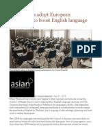 Thai Schools Adopt European Framework to Boost English Language Proficiency