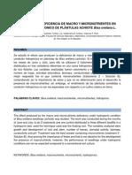Efectos de Deficiencia de Macro y Micro Nutrientes Sometidos a Condición Hidropónica en Plántulas de Bixa Orellana