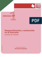 Desmovilizacin y Reinsercin en El Salvador Lecciones Para Colombia