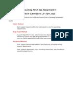acct 301 assignment iiird assgt questions