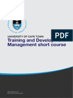 Uct Training and Development Management Course Information Pack