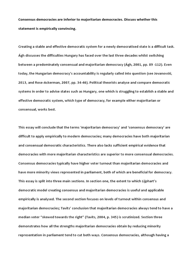 consensus and majoritarian democracy essay voter turnout  consensus and majoritarian democracy essay voter turnout consensus decision making