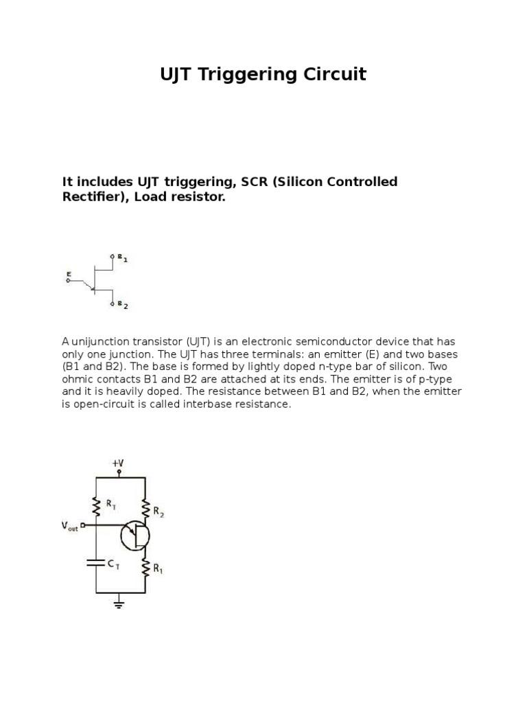 Ujt Triggering Circuit Rectifier Field Effect Transistor Circuitdiagramforscrtriggeringcircuit