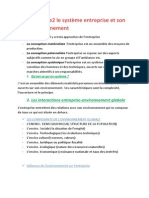 MANAGEMENT2 RESUME DE Chapitre2 Le Système Entreprise Et Son Environnement