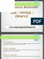 Difference Between Sql - MySql and Oracle