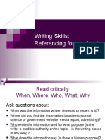 Writing Skills Referencing for Academic Purposes Tutorial May 2011