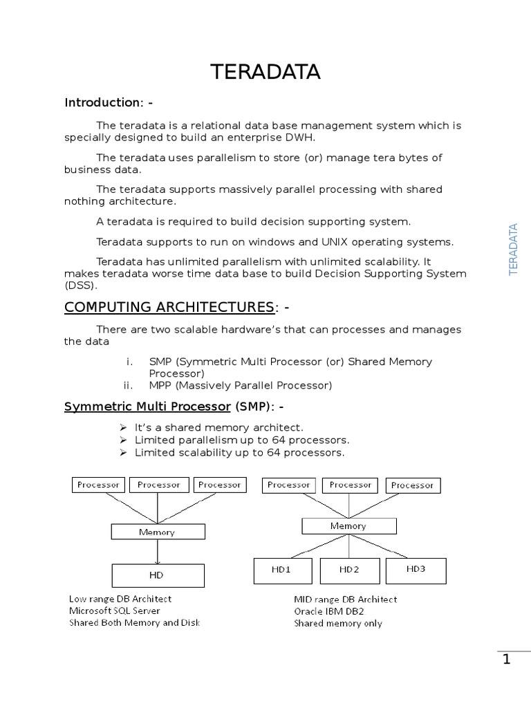 TERADATA DOC | Relational Database | Database Index