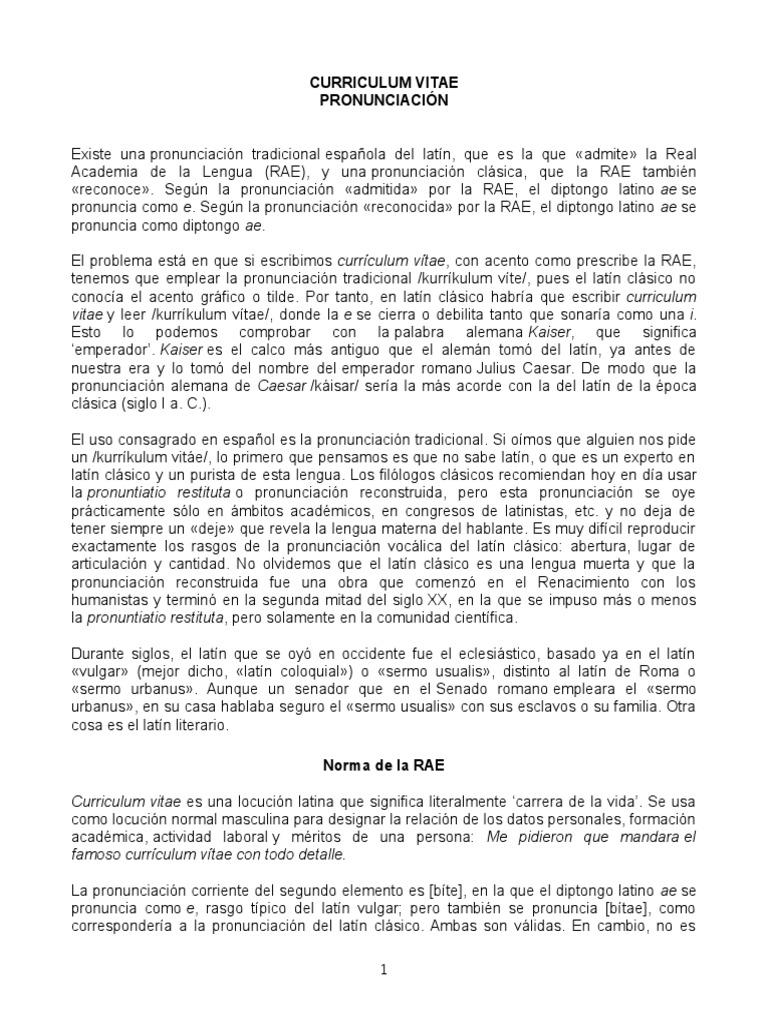 Curriculum vitae. Pronunciación.docx