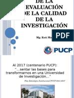 importancia de evaluacion en la calidad de investigacion