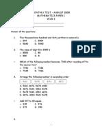 Math Monthly Test y3