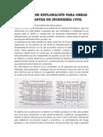 Trabajos de Exploración Para Obras Importantes de Ingeniería Civil