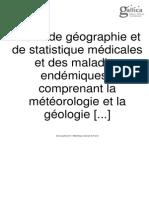 Essai Traité de géographie et de statistique médicales et des maladies endémiques Boudin