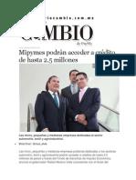 30-03-2015 Diario Matutino Cambio - Mipymes Podrán Acceder a Crédito de Hasta 2.5 Millones