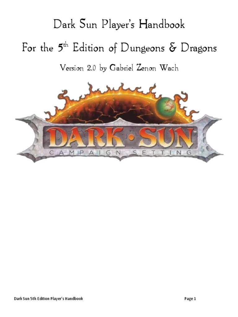 dark sun player 39 s handbook v2 0 elf dungeons dragons dwarf dungeons dragons. Black Bedroom Furniture Sets. Home Design Ideas