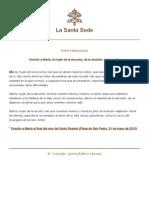 Papa Francesco Preghiere 20130531 Maria Donna Dell Ascolto