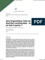 Aire Linguistique Asie Du Sud-Est Continentale_ Le Birman en Fait-il Partie